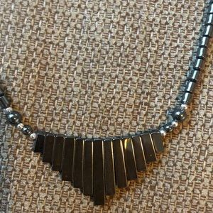 Black metallic unique necklace!